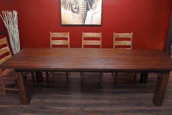 Massivholz esstisch aus teak im antikstil for Wohnzimmertisch und esstisch in einem