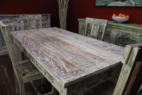 esstisch wei gek lkt mediterran 180x91x77 massivholz beige tisch vintage antik ebay. Black Bedroom Furniture Sets. Home Design Ideas