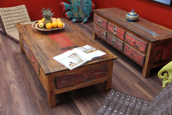couchtisch bali teak holz recycelt 150x80x45 massiv bunt mehrfarbig indonesien ebay. Black Bedroom Furniture Sets. Home Design Ideas