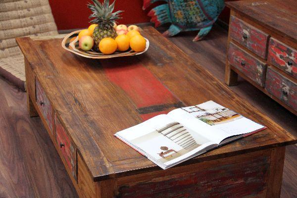 Couchtisch Holz Ausgefallen ~ Couchtisch, Holz, Massiv, Schubladen, Shabby Chic, Bunt, 150x80x45