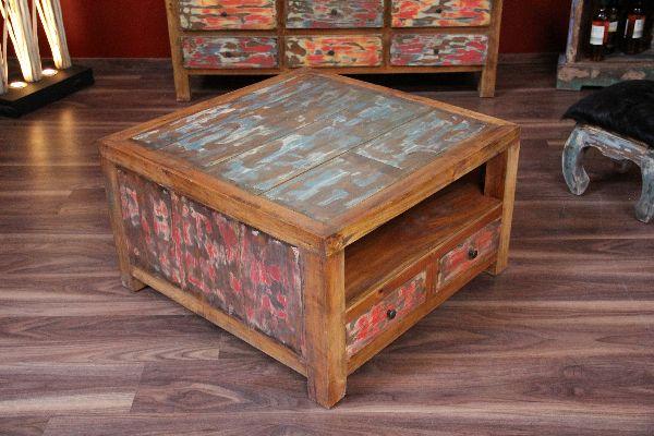 Couchtisch Holz Ausgefallen ~ Couchtisch, Holz, Quadratisch, Schubladen, Recycelt, Bali, 80x80x45