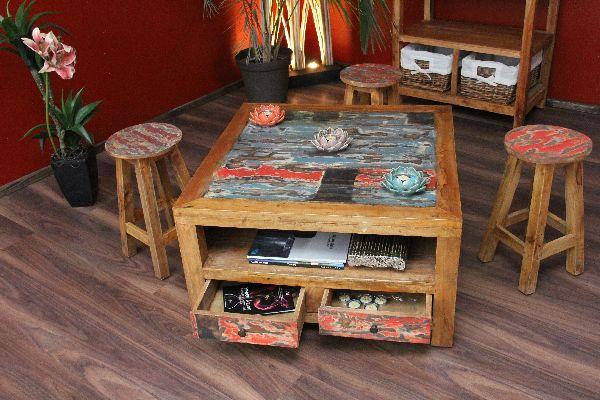 Couchtisch Holz Teak Bali 80x80x45 Recycelt Quadratisch Schubladen