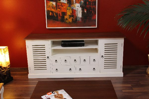 sideboard tv hifi cd schrank massiv holz wei braun gro kolonial stil landhaus ebay. Black Bedroom Furniture Sets. Home Design Ideas