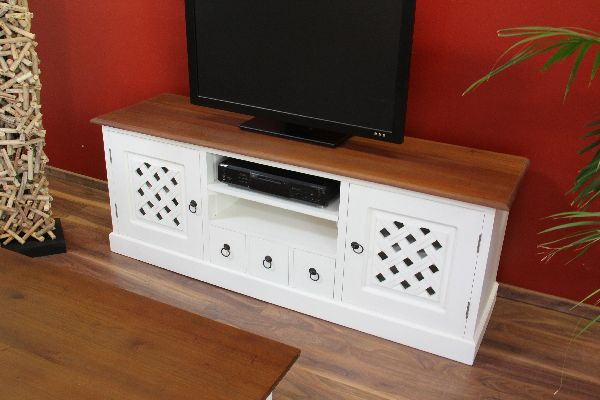 Sideboard tv hifi cd lowboard schrank massiv holz wei for Tv schrank kolonial