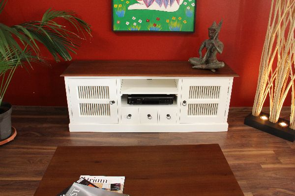 sideboard tv hifi cd massiv holz lowboard wei braun bronze landhaus kolonial ebay. Black Bedroom Furniture Sets. Home Design Ideas