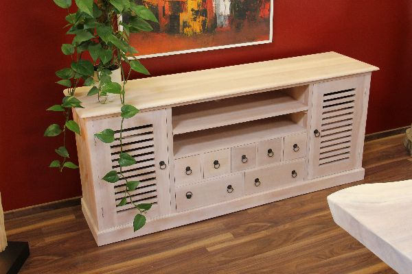 sideboard tv hifi schrank fernsehschrank holz massiv wei. Black Bedroom Furniture Sets. Home Design Ideas