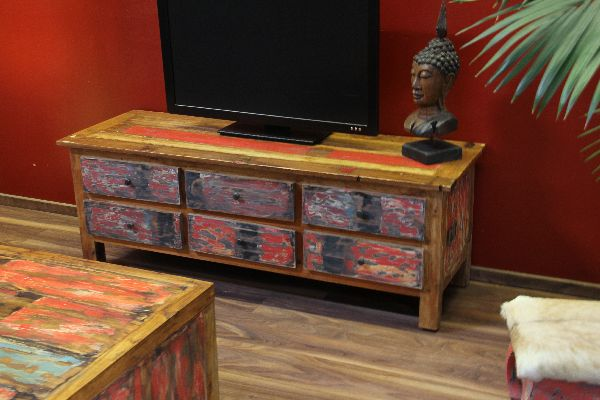 sideboard tv hifi schrank lowboard unterschrank massiv holz teak mehrfarbig bali ebay. Black Bedroom Furniture Sets. Home Design Ideas