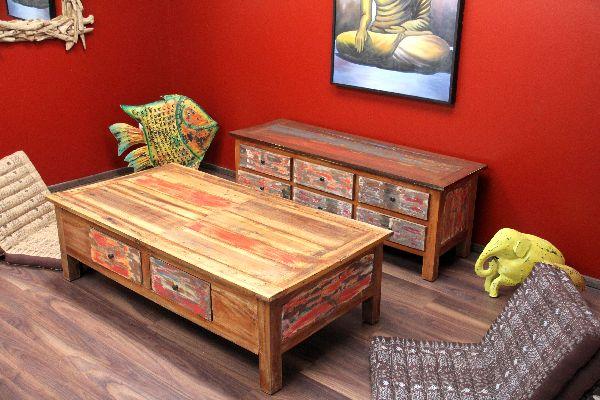couchtisch bali teak holz recycelt 150x80x45 massiv bunt. Black Bedroom Furniture Sets. Home Design Ideas