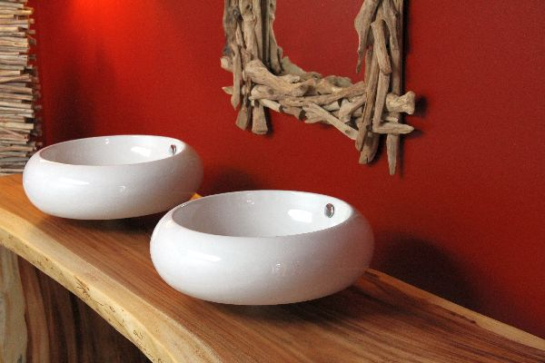 waschtisch holz massiv suar doppel waschbecken 220x87x75. Black Bedroom Furniture Sets. Home Design Ideas