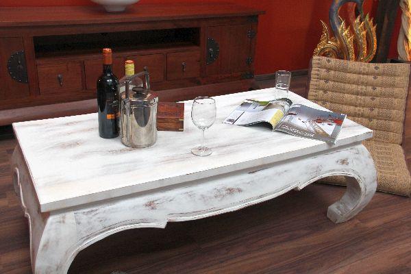 opiumtisch couchtisch massivholz wei antik shabby chic 125x65x40. Black Bedroom Furniture Sets. Home Design Ideas