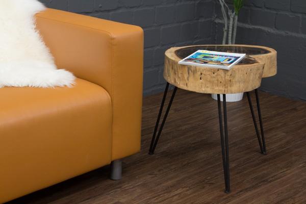 beistelltisch massivholz baumscheibe baumstamm suar 50x51. Black Bedroom Furniture Sets. Home Design Ideas
