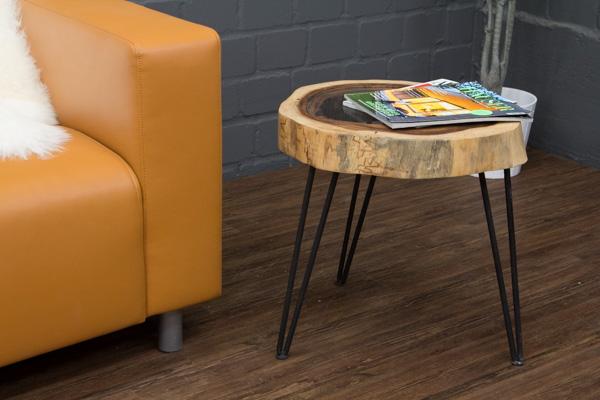Massivholz Beistelltisch aus einer Suar Baumscheibe. 49x43cm ...