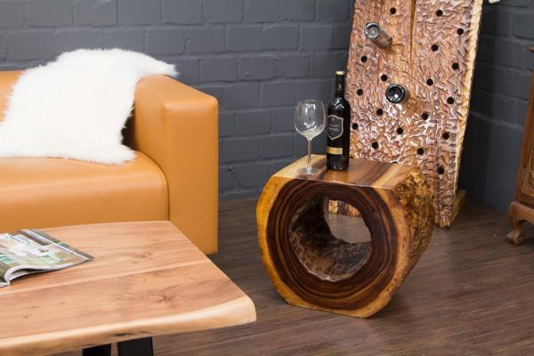 massivholz beistelltisch aus einer suar baumstamm scheibe. Black Bedroom Furniture Sets. Home Design Ideas