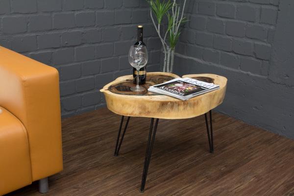 couchtisch massivholz baumscheibe baumstamm suar 77x51 glasplatte metallf e neu ebay. Black Bedroom Furniture Sets. Home Design Ideas