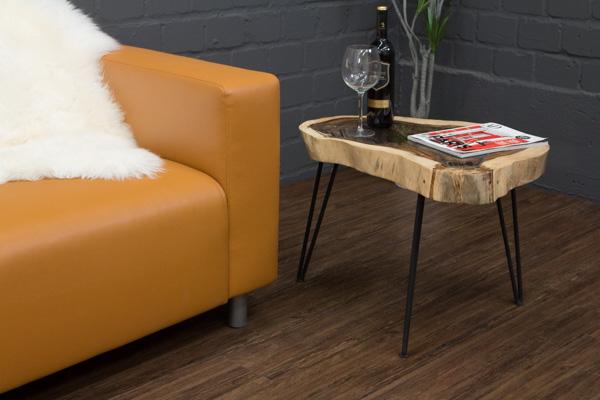 couchtisch baumstamm massivholz suar baumscheibe 65x49 glasplatte metallf e neu ebay. Black Bedroom Furniture Sets. Home Design Ideas