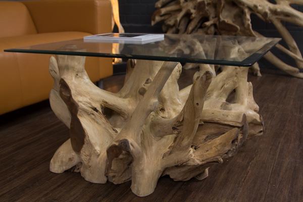 Baumwurzel Couchtisch Aus Suar Holz Mit Glasplatte Quadratisch Nr 18223